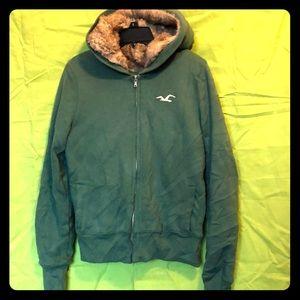 Faux Fur Hoodie Hollister sweater shirt XL